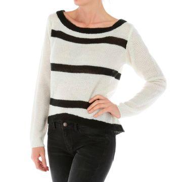 Sweater Mujer Striped Open Shoulde